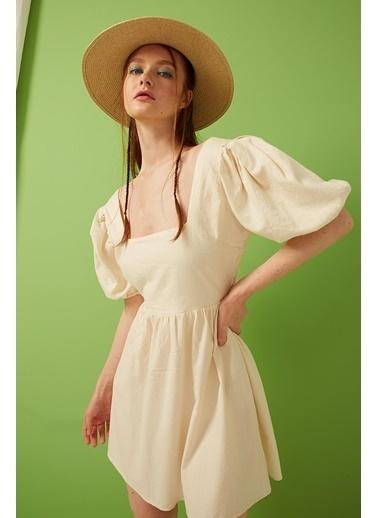 Modaset Sırt Dekolteli ve Bağlamalı Elbise Bej Bej